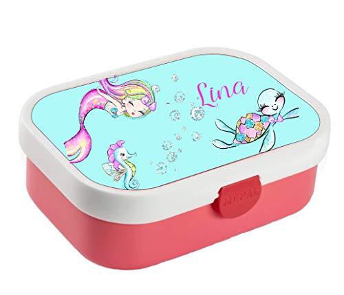 *wolga-kreativ Brotdose Lunchbox Bento Box Kinder Meerjungfrau Schildkröte mit Namen Rosti Mepal Obsteinsatz für Mädchen Jungen personalisiert Brotbüchse Brotdosen Kindergarten Schule*