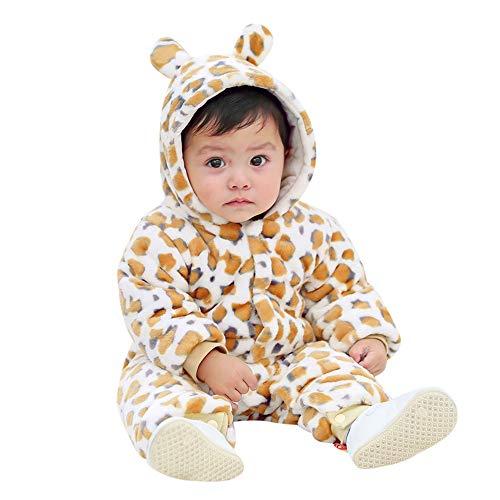 MRULIC MRULIC Schöne Kaninchen Bär Ohren Baby Crawlen Mantel Winter Playsuit Dicker Mantel Warmen Overall Outfit Outwear Mädchen Jungen Baumwollmantel Plüschjacke(B-Gelb,60-65CM)