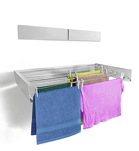 HANGHOVER Clothes Laundry Drying Rack  an Elegant Wall-Mounted Hanger  Folding Stainless Steel Collapsible Space Saver with 197 feet Drying Capacity Signal White