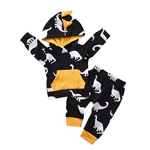 Baby Mädchen Jungen 7D Dinosaurier Sweatshirt Trainingsanzug Outfits Kinder Boy Cartoon Dinosaur Drucken Hoodie Pullover T-Shirt Tops Lang Sport Hose Spring Autumn Kids Kleidung Set