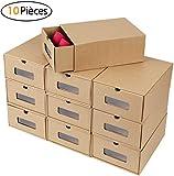 MVPOWER Boîte à Chaussures en Papier Kraft Boîte de Rangement Boîte à Chaussure avec Tiroir Boîte à Chaussure avec Tiroir en Carton Epais 10 PCS