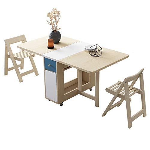 JIADUOBAO Juego de mesa de comedor plegable de 1,5 m, madera maciza, muebles de cocina de madera maciza, pequeño apartamento, mesa de mesa de comedor (color: mesa+2 sillas)