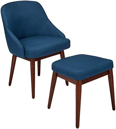 Best AmazonBasics Classic Curved Back Accent Chair with Ottoman, Dark Navy