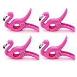 AUEAR, Lovely Towel Clips Chair Holders for The Beach or Home Patio Holiday Pool and Chaise Pool Chair Supplies Accessories Portable Secure Towel Clips (Pink Flamingo, 4-Pack)