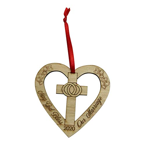 Twisted Anchor Trading Co God Bless This Marriage Ornament 2020 – Heart Shaped Anniversary Ornament, Our First Christmas Ornament - Wedding Ornament - Comes in a Gift Box so it's Ready to give