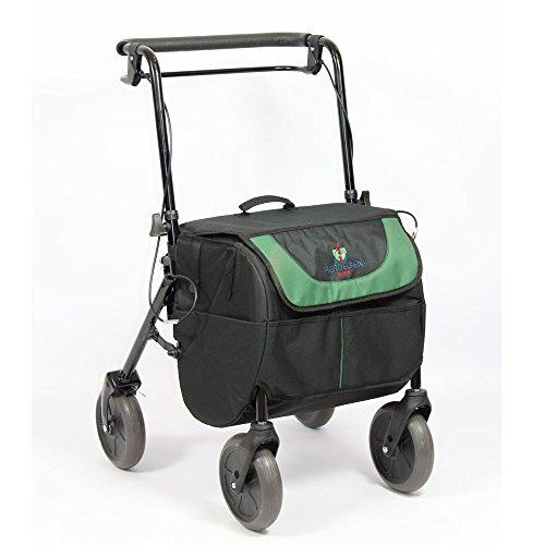 Rollator met 4 wielen en rem, zitting en transporttas, opvouwbaar en verstelbaar | 2-in-1: rollator en boodschappentrolley.