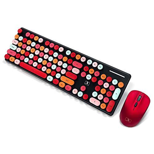 Bunte Computer Kombination aus Drahtloser Tastatur und Maus, PTN Kabellose Tastatur und Mausset, Schreibmaschine mit Flexiblen Tasten Office Tastatur in Voller Größe, Drahtlose Ausfallfreie 2.4GHz