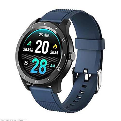 Reloj inteligente, pantalla de 1,3 pulgadas, Bluetooth 4.0 IP67, prueba de salud, impermeable, recordatorio de sedentarismo, análisis del sueño para todos (color: azul)