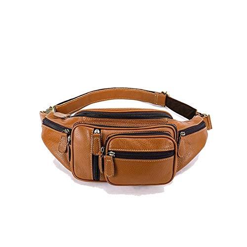Y-hm fashion design Men's multi-function leather outside sports occasional leather chest bag shoulder Messenger bag Lightweight and durable (Color : Black, Size : 24 * 12 * 11 cm)