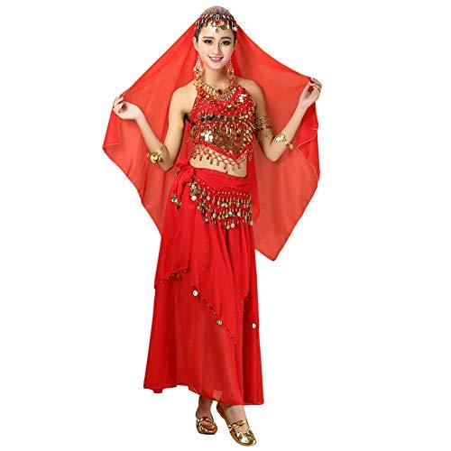 Xinvivion 4 Stück Damen Frauen Bauchtanz Professionel Kostüm Set Indischer Tanz Performance Outfit Anzug (Rot,Fit 45-70 KG)