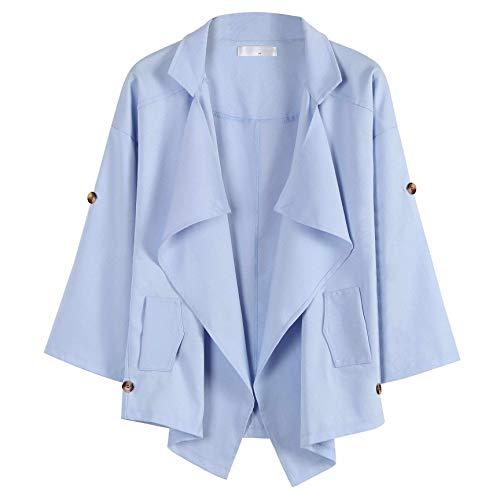CRWOOL Abrigo de Mujeres Invierno Elegantes Slim Chaqueta Pullover Outwear Parka para Viajar, Esquiar y Caminar en Otoño e Invierno Caqui S-XL(crct052),Blue,S