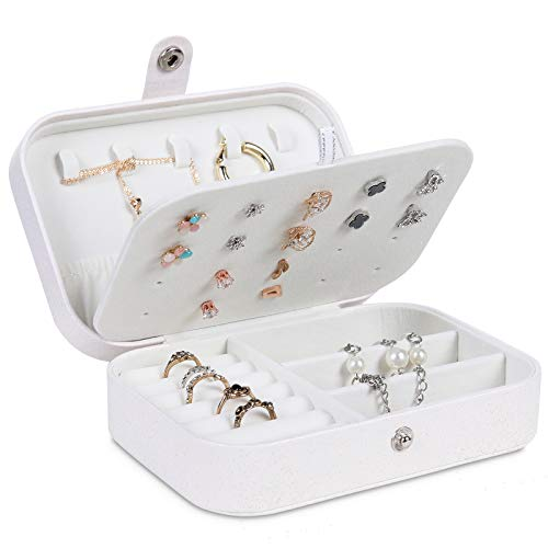 misaya Jewelry Box for Women Doubel Layer Travel Jewelry Organizer for Necklace Earring Rings Sparkle Jewelry Holder Case, Glitter White