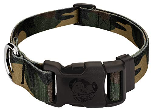 Country Brook Petz - Deluxe Woodland Camo Dog Collar - Made in The U.S.A. - Military and Camo Collection with 15 Rugged Designs (1 Inch, Medium)