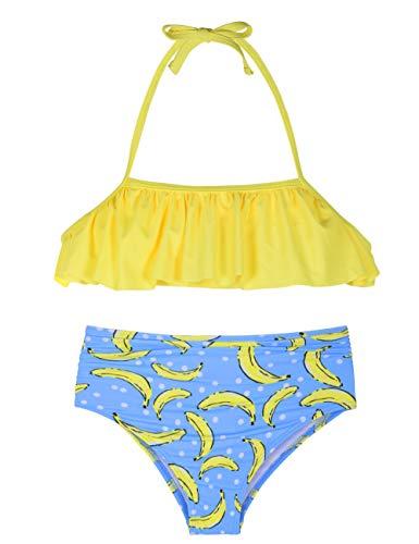 Hilor Girl's Bikini Set Crop Flounce Two Piece Swimsuits Kids Haler Bathing Suits Bananas 7-8 Years