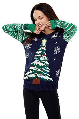 U LOOK UGLY TODAY Damen Weihnachtspullover Hässliche LED Light Sweater Lustig Pulli Xmas Weihnachtspulli mit weihnachtlichen Motiven für Weihnachtsparty