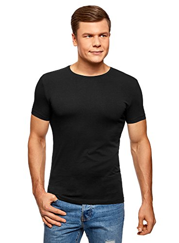 oodji Ultra Herren T-Shirt Basic (2er-Pack), Schwarz, XL