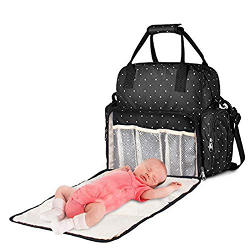 Diaper Bag Backpack, Baby Bag with Changing Pad, Waterproof Multifunction Nappy Bag,Maternity Travel Back Pack for Mom&Dad with Insulated Pockets Black