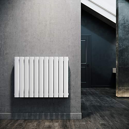 ELEGANT Paneelheizkörper Horizontal 630 x 847 mm Weiß Badezimmer/Wohnraum Doppellagig Horizontal Heizkörper Badheizkörper Design Flachheizkörper