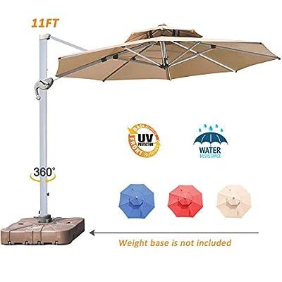 LKINBO 11ft Patio Cantilever Umbrella 360 Degree Rotation Outdoor Offset Umbrella Large Patio Hanging Umbrella with Easy Tilt & Crank for Market Pool Deck Backyard Garden and Porch, Beige
