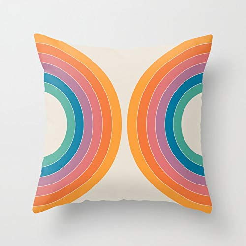 Retro Rainbow Tunnel Pattern Throw Pillow Cover Retro Sepia Background Funda de cojín Hogar Sofá Decoración Funda de Almohada A9 45x45cm 1pc