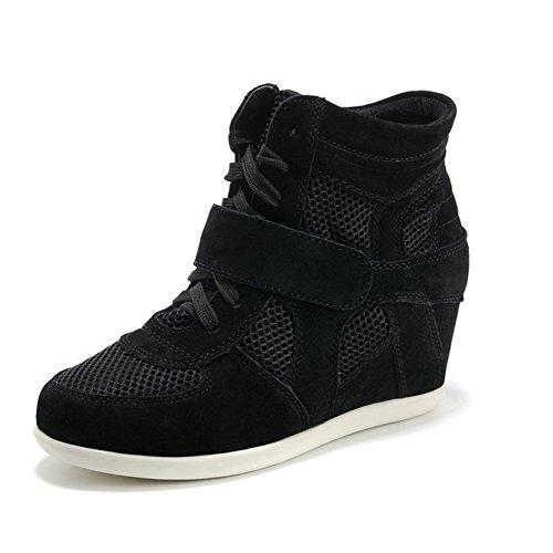 Rismart Mujer Zapatos Formal Oculto Tacón Cuña Gamuza Tela Zapatillas (Negro,EU38)