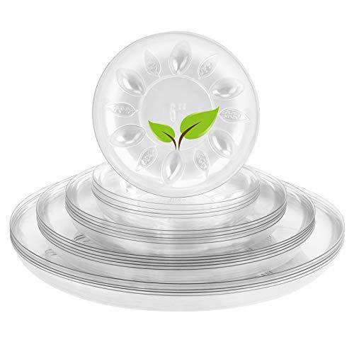 MICGEEK Platos para plantas, 20 unidades (6/8/10/30,48 cm) para interior de plástico transparente, bandeja de goteo para plantas, flores