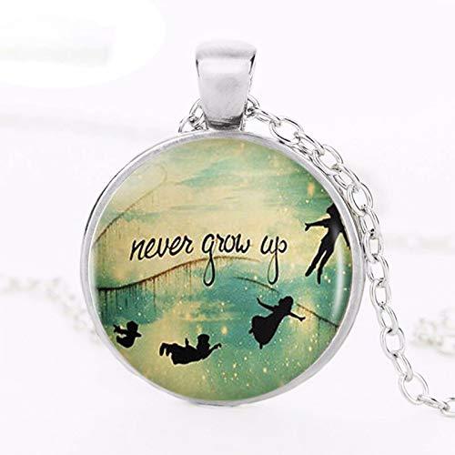 Collar con colgante con logotipo de Campanilla de la Moda 2017 Peter Pan Art de Plata Vintage Cadena Gargantilla Declaración Collar Regalo de Joyería