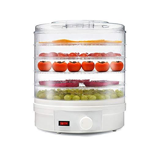 QAQ Secador De Aire Deshidratador De Frutas Abs Respetuoso con El Medio Ambiente Ajuste De Altura De 5 Capas Máquina De Fruta Seca,White,OneSize