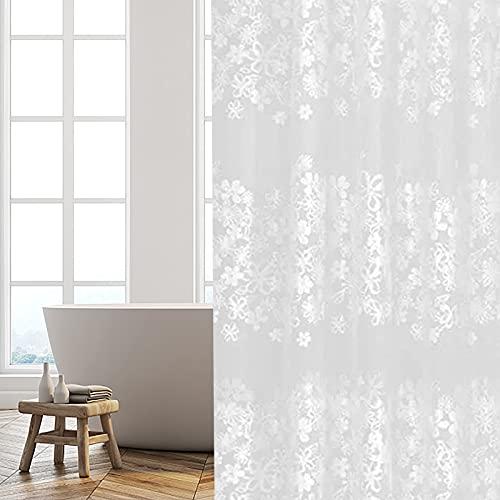 JRing Duschvorhang 180 x 200 Transparent, PEVA Wasserdicht, Halb-transparent Klar, Anti Schimmel, PVC-frei Umweltfre&lich Waschbar mit 12 Ringe (Gänseblümchen)