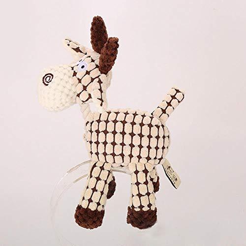 ZWQPlush Squeak Pet Dog Toys para Perros pequeños Cute Donkey Puppy Cat Chew Toy Animal Resistente a la mordedura Animal Pet Supplies, Blanco, S