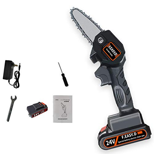 4-Inch 24V Cordless Handheld Chainsaw, Electric Portable Chainsaw Lithium-iON for Tree Branch Wood Cutting