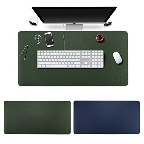 デスクマット 超大型 マウスマット ゲーミングマウスパッド - BUBM 防水性 耐油性 キーボードマット PU デスクパッド PC机 マット 光学式マウス対応 ノートパソコン対応 耐洗い表面 (ロイヤルブルー+ダークグリーン, 80cm*40cm)
