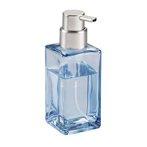 mDesign Schaumseifenspender aus Glas – umweltfreundlicher Pumpseifenspender mit 414 ml Volumen – Pumpkopf aus rostbeständigem Kunststoff – blau/mattsilberfarben