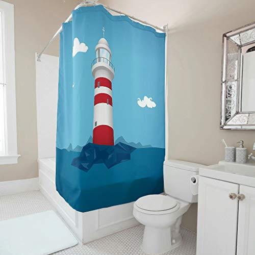 Gamoii Blauer Himmel Meer Leuchtturm Duschvorhänge Bad Gardinen Bedruckt Hotel Haus Vorhang Wasserabweisend Shower Curtains mit Duschvorhangringe White 200x200cm