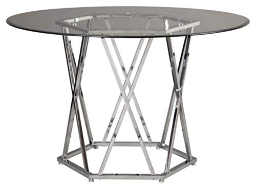Signature Design by Ashley Madanere Round Contemporary Dining Room Table, Chrome Finish