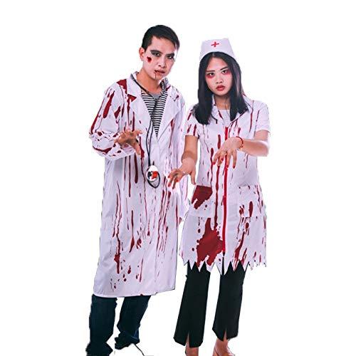 Disfraz de enfermera zombie para mujer, adulto, sangriento, sexy, de terror, calidad, vestido para mujer, blanco,