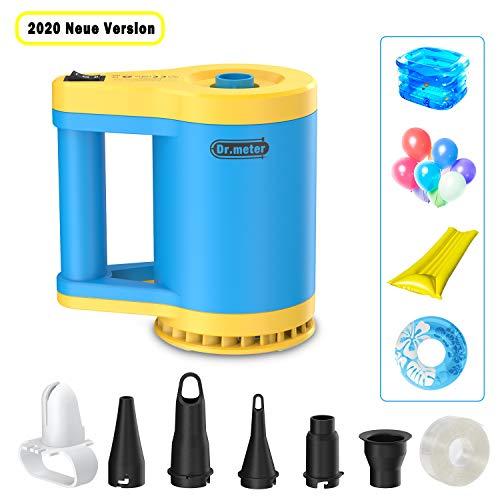 Dr.meter 2in1 Elektrische Luftpumpe, Multifunktion Elektropumpe Nicht nur Luftmatratze, Matratzen, Planschbecken, Pool, schlauchboot aufblasen, sondern auch den Ballon aufblasen, 5 Abnehmbare Düsen