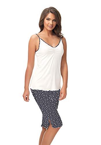 e.FEMME KAJA 498 - Pijama para mujer (viscosa con elastano) Crudo y estrellas. 48