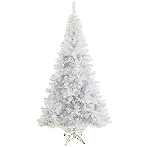 Sunjas Albero di Natale, Materiale PVC, vere pigne di abete 120cm Biacno (180CM)