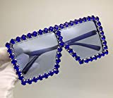 Jbwlkj Crystal Diamond Oversized Sonnenbrille für Frauen Mode Candy Shades Uv400 Brand Brille Transparent Frame-Deep_Blue