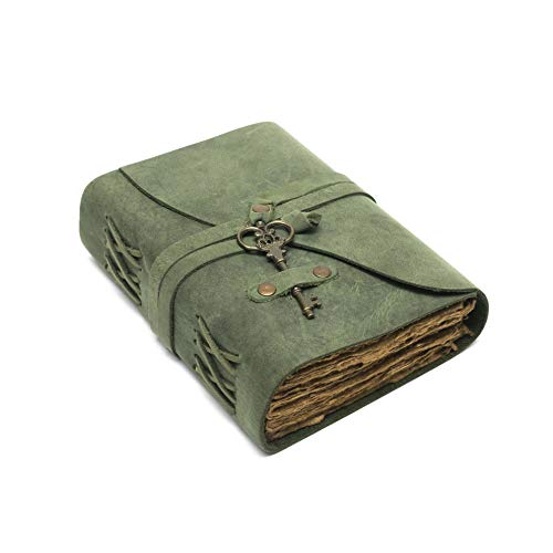 Vintage Leather Journal - Antique Handmade Deckle Edge Vintage Paper Leather Bound Journal - Book of Shadows Journal - Leather Sketchbook - Drawing Journal - Great Gift (Green, 11.5'x8.25')