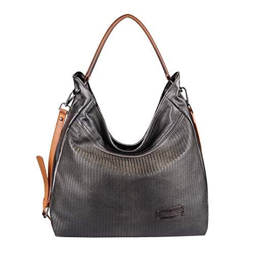 OBC Damen Tasche Shopper Tote Bag Henkeltasche Handtasche Umhängetasche Schultertasche Beuteltasche Leder Optik Reise Hobo-Bag (Schwarz 42x34x15)