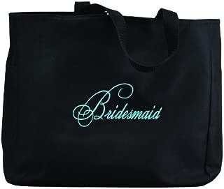 Hortense B. Hewitt Wedding Accessories Black with Aqua Bridal Party Tote Bag, Bridesmaid, 12 by 14-Inch
