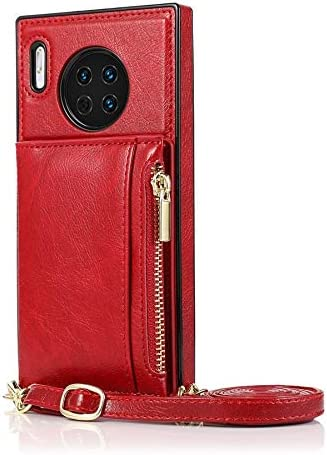 SLDiann Case for Huawei Mate 30, Zipper Wallet Case with Credit Card Holder/Crossbody Long Lanyard, Shockproof Leather TPU Case Cover for Huawei Mate 30 (Color : Red)