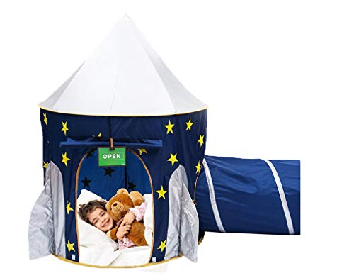 Play Kreative Space Rocketship PlayTent with Crawling Tunnel – Kids Blue pop up Tent Playouse with Yellow Stars. for Indoor Outdoor Camping Children...