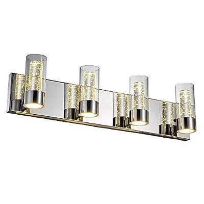 JINZO LED Bathroom Vanity Lighting Fixture Bathroom Lights-4 Lights with Champagne Bubble Cylinder Chrome Finish.