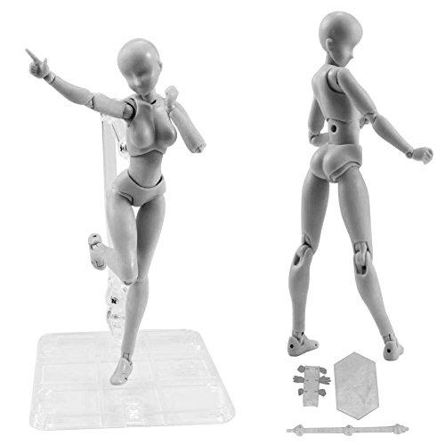 ASOSMOS Kun Doll PVC Spielzeug Body-Chan DX Set Movebale Action Figure Modell Für SHF Version 2.0 Geschenke Modellpuppe (grau, Female)