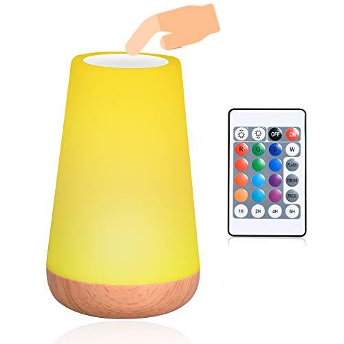 Luz Nocturna de LED, Lámpara de Mesita de Noche, Luz del Humor Control Remoto y Tactil, USB Recargable Iluminación de Ambiente Interior Cambio de 13 Colores, para Niños Dormitorio Habitación Cámping