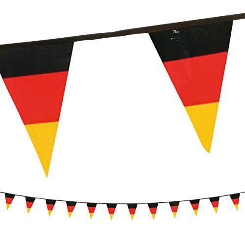 Uakeii Deutschland Wimpelkette Wiederverwendbar Wetterfest Outdoor & Indoor 9,5 m Perfekt zur EM 2020 Fanartikel Große Girlanden Idealer Fanartikel Schwarz Rot Gold Dekoration Dreieck 30 x 20 cm
