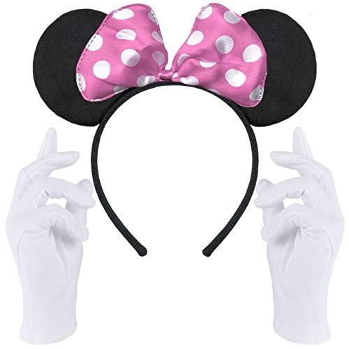 Haarreifen in schwarz mit Maus Ohren Mouse mit Schleife in rosa mit weißen Punkten + weiße Handschuhe für Erwachsene